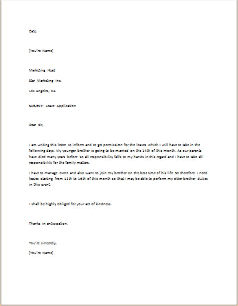 leave application letter template  word word excel