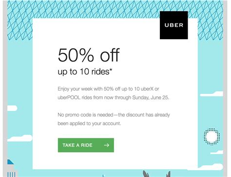 Maybe you would like to learn more about one of these? Uber Promotion: 50% Off Up to 10 Rides Through June 25 [Update 2017.06.19: Not Only For Select ...