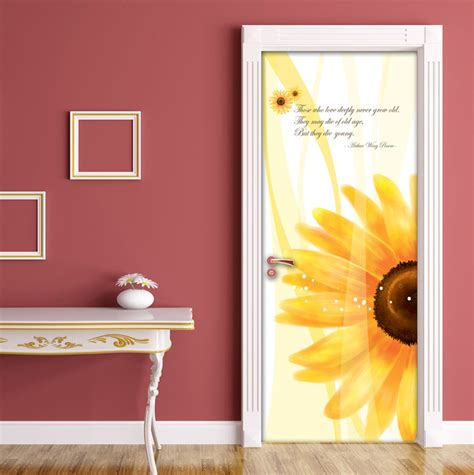 sunflower door contact paper  adhesive peel stick