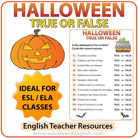 Free Halloween Brain Teasers Printable by Halloween True Or False Quiz Woodward English
