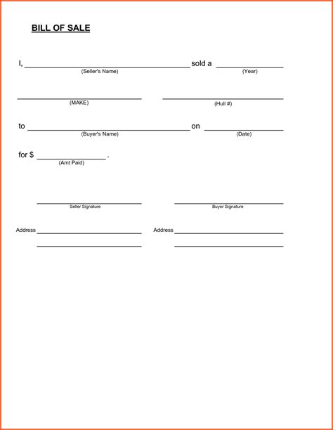 Bill Of Sale Template Simple Bill Of Sale Form Printable Template Free Sle