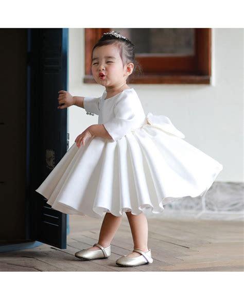 high  ivory satin flower girl dress modern  sleeves