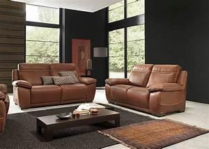 salon complet brescia en cuir canape 3 places avec 2 With salon canapé en cuir
