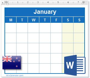 calendar  nz holidays ms word