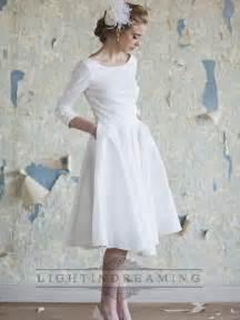 wedding dress 3 4 sleeve classic vintage a line 3 4 length sleeves tea length wedding dresses lidress