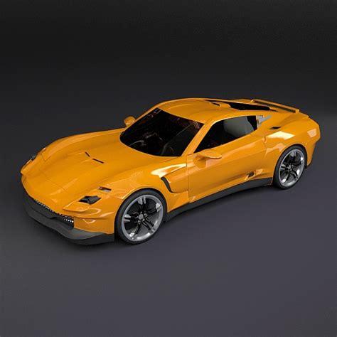 Models Sports Car by Yellow Sports Car 3d Model Obj 3ds Fbx Lwo Lw Lws