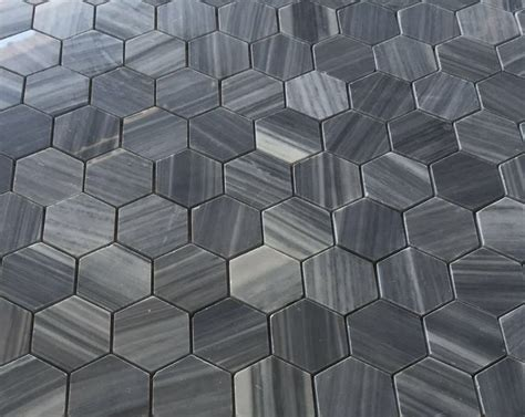 bardiglio gray honed 2 quot hexagon marble mosaic floor and