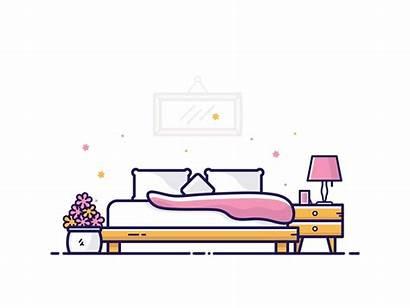 Bedroom Dribbble Icon Illustrator Furniture Drawing Flat