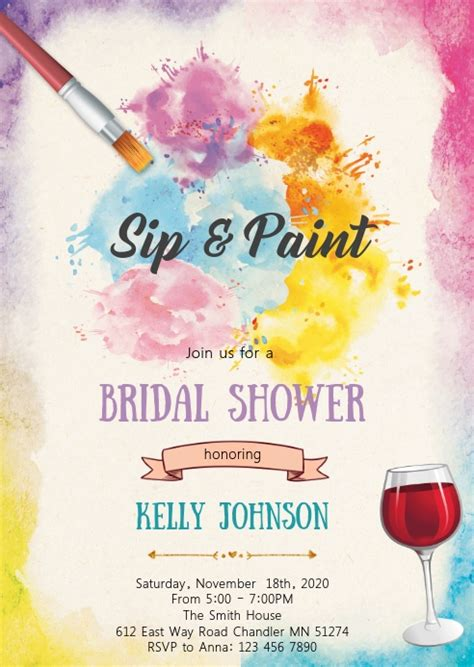sip  paint bridal shower invitation template postermywall