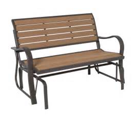 outdoor glider bench patio garden wooden teak wood deck