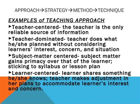 selection use of teaching strategies different approaches