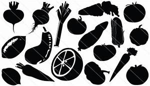 Vegetable Silhouette Vector with Carrot, Beetroot ...
