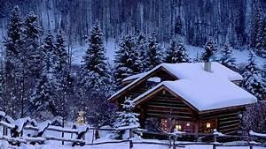Christmas, Snow, Pine, Trees, Cabin, Hd, Wallpapers, Desktop