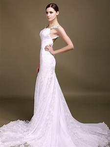 Trumpet/Mermaid Spaghetti Straps Low Back Lace Wedding ...