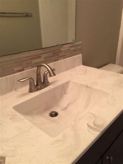 bathroom vanity backsplash stone  glass mosaic