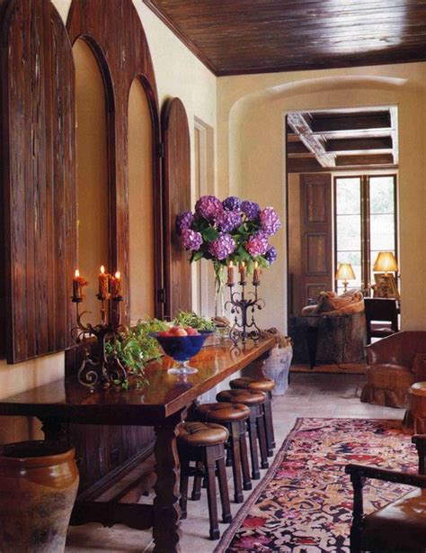 spanish console table  stools mediterranean living