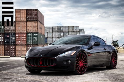 red maserati show stopper gloss black maserati granturismo with