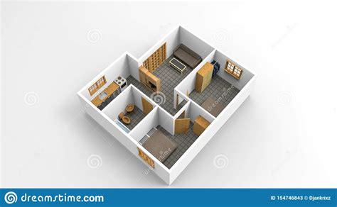 rendering modern minimalist house plan isolated stock illustration illustration  house
