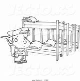 Coloring Bed Camp Bunk Cartoon Outline Summer Canopy Template Boy Beds Sketch sketch template