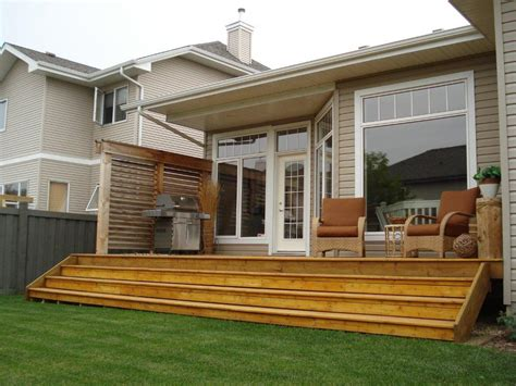 backyard deck plans deck and patio designs exterior deck and privacy wall in west edmonton tbs carpentry