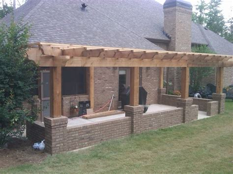 attached pergola designs pergola build  concrete