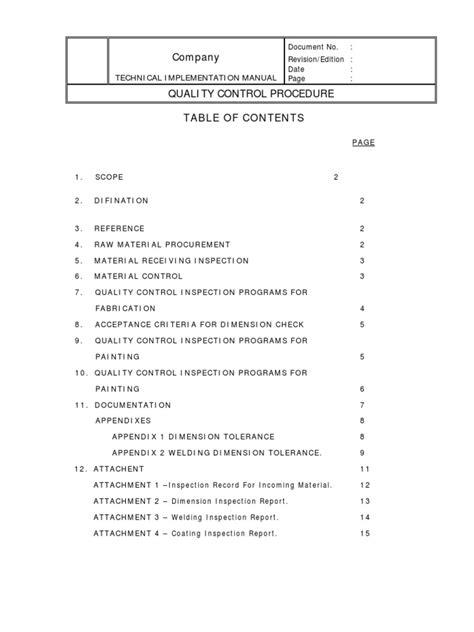 Quality Control Procedure Sample[1] | Quality Assurance