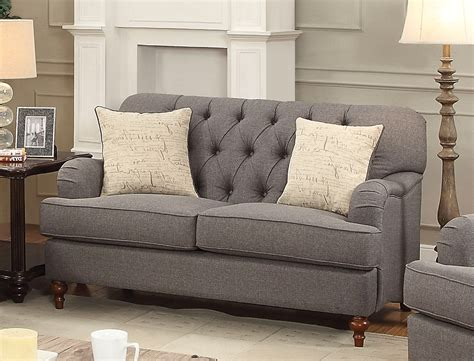 Gray Tufted Loveseat aliza contemporary gray button tufted sofa loveseat set