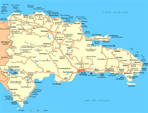 large detailed road map  dominican republic dominican