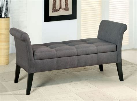gray storage bench doheny gray fabric storage bench from furniture of america