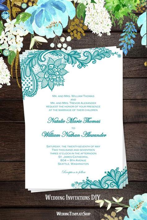 vintage lace wedding invitation teal wedding template shop