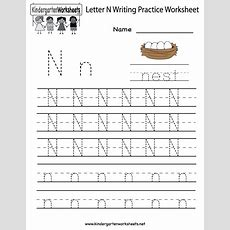 Kindergarten Letter N Writing Practice Worksheet Printable  Kids Fun!  Writing Practice