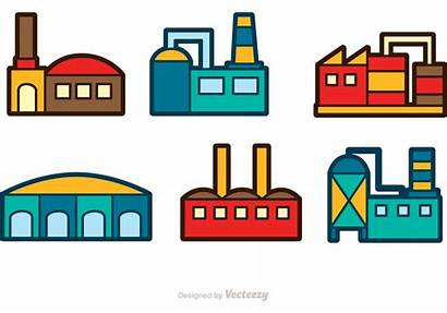 Factory Building Icons Graphics Colorful Vecteezy System