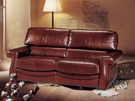 sofa bed covered  leather classic style idfdesign