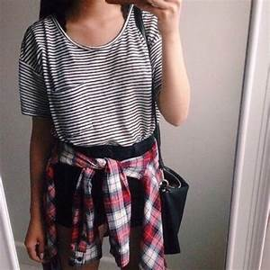 Shirt: flannel shirt, striped shirt, tumblr outfit, top, t ...