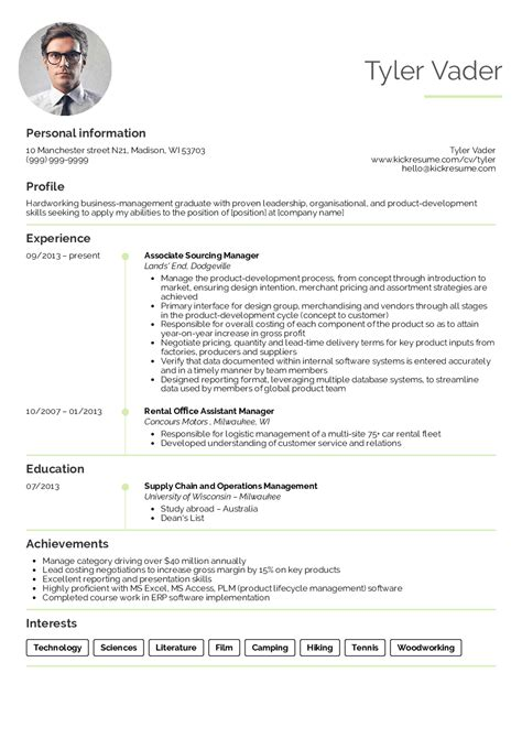 resume exles by real business management graduate cv exle kickresume