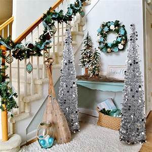 Aytai 5ft Collapsible Christmas Tree  Silver Tinsel