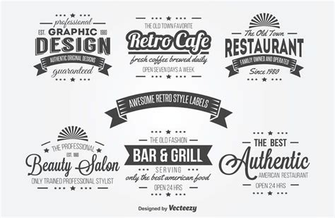 typography template 15 free vintage logo badge template collections
