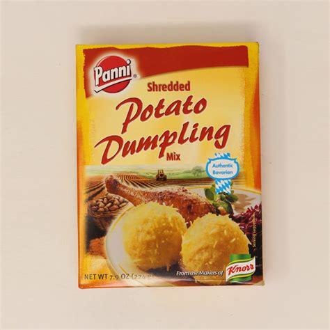 Add 5 to 6 oz finely chopped bacon to the pancake mixture. Panni Potato Dumplings - Karl Ehmer