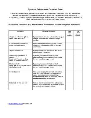 eyelash extension waiver form eyelash consent form fill online printable fillable