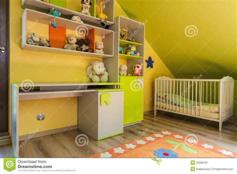 urban apartment green  yellow interior stock image