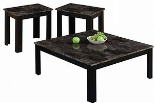 Table set 3 piece set black gray marble look top for Grey marble coffee table set