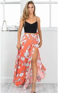 Cali maxi skirt in orange floral | Wishlist | Pinterest | Cali Floral and Clothes