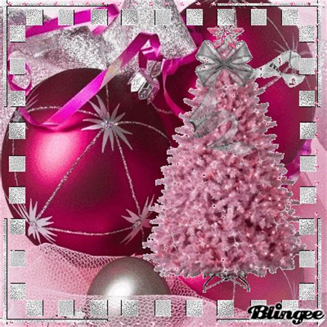 pink silver christmas scene picture  blingeecom