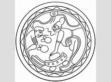 Mayan Plate with Metate Grinding Cocoa coloring page