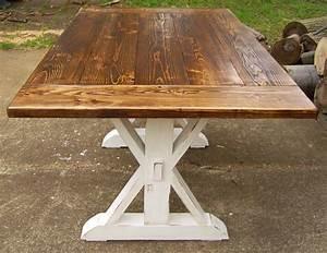 Reclaimed Wood Trestle X Farmhouse Table by