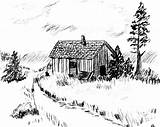 Cabins Pencil Cabin Sketch Coloring Pages Template sketch template