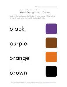 Color Word Recognition Worksheets