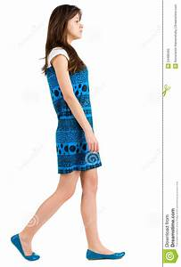 Back Side View Of Going Young Brunette Girl Stock Image