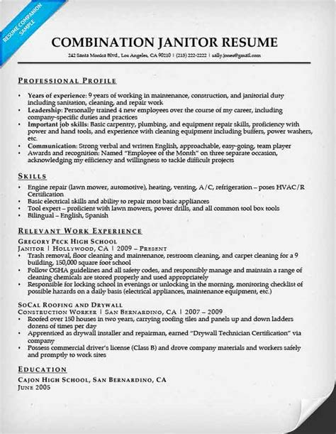 Janitor Responsibilities Resume by Combination Resume Sles Resume Companion