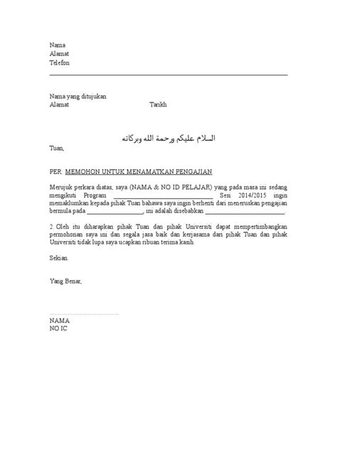 Contoh Surat Berhenti Sekolah Tadika